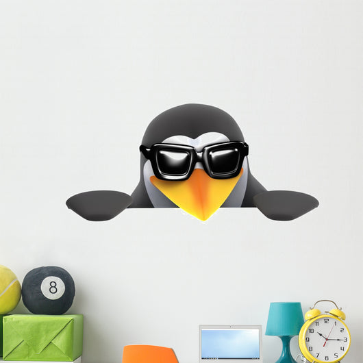3D Penguin Sunglasses Peeps Wall Decal