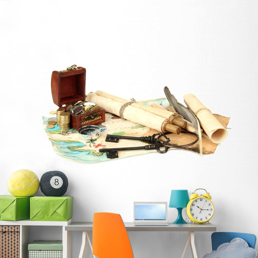 Map and Treasures Wall Decal