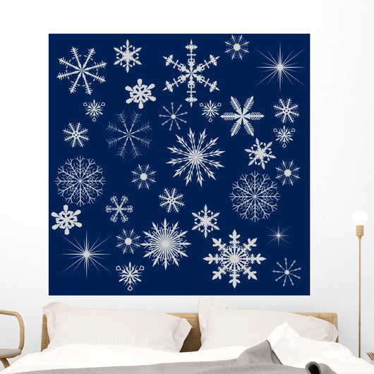 Light Snowflakes on Dark Blue Background Wall Mural