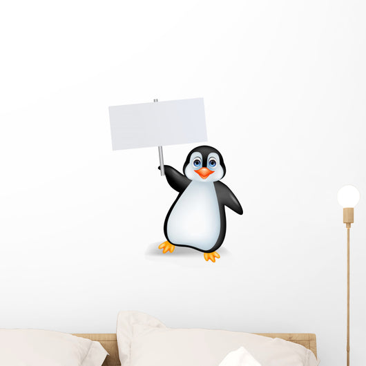 Penguin with blank sign Wall Decal