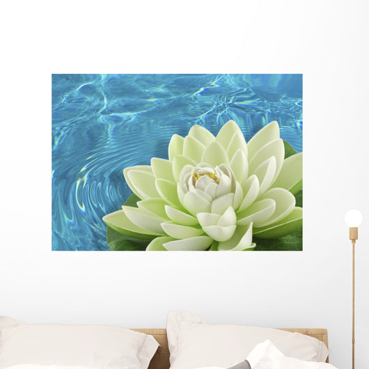 artificial white water lily flower Wall Mural