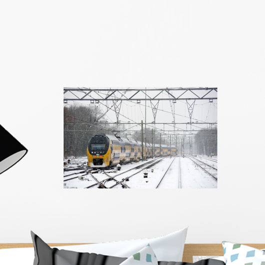 Train in snow Wall Mural