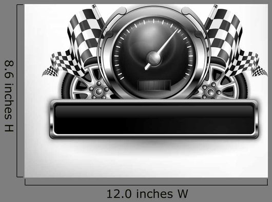 Racing Emblem Speedometer White