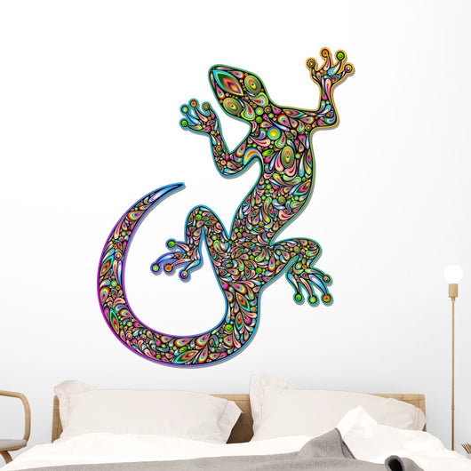 Gecko Geko Lizard Psychedelic Art Design-Geco Psichedelico Wall Decal