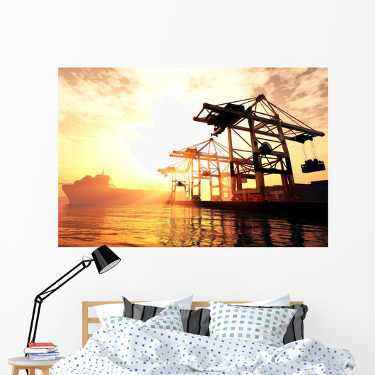 Industrial Port Sunset Wall Mural