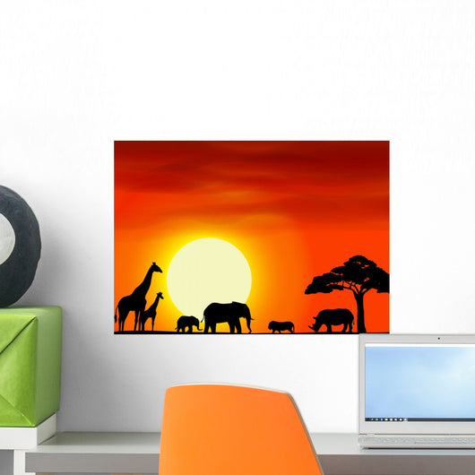 Africa Safari Landscape Background Wall Mural