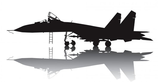 Military Aircraft Vector Silhouette With Reflection Wall Decal