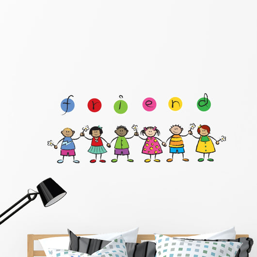 We are FRIENDS! - cartoon illustration of multi racial kids Wall Decal
