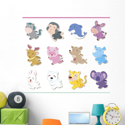 Cute Cartoon Animal Icon Wall Stickers