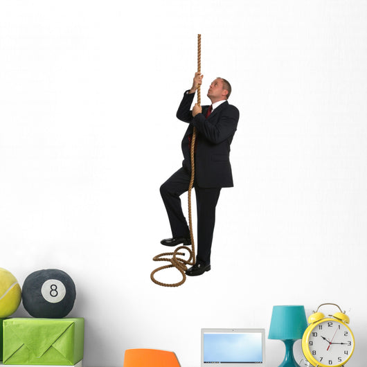 Businessman climbing rope Wall Decal