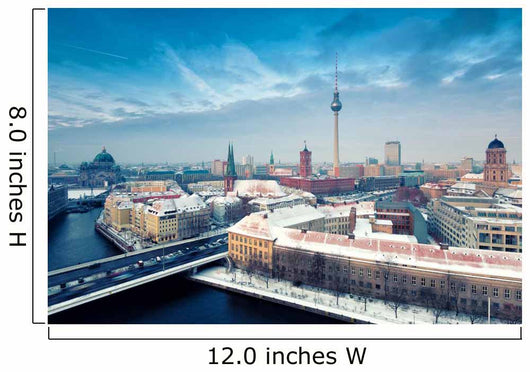 Berlin Skyline Winter City Panorama with snow and blue sky Wall Mural
