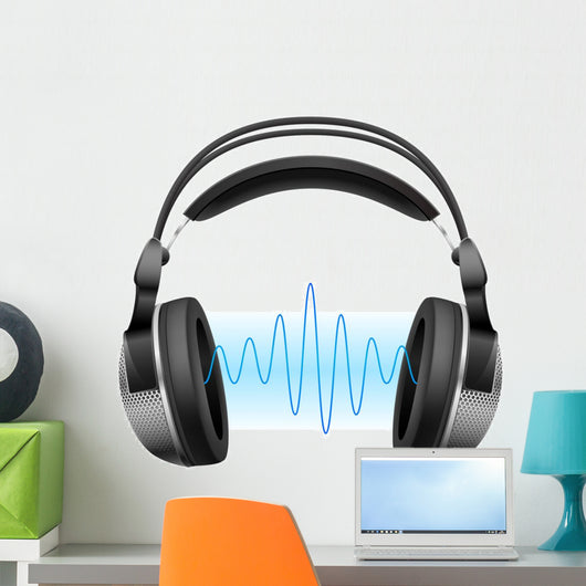 Headphones and Music Wave