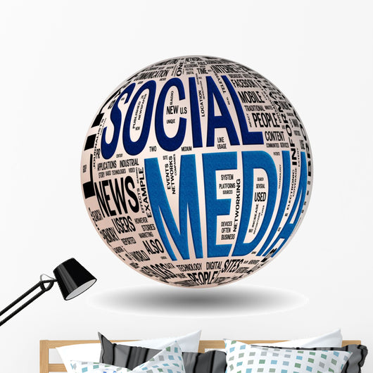 Social Media concepts isolated on white (included Clip Path) Wall Decal