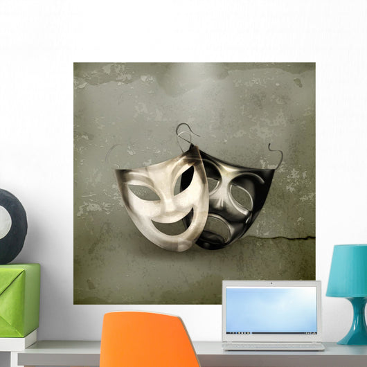 Theater masks, old-style Wall Mural