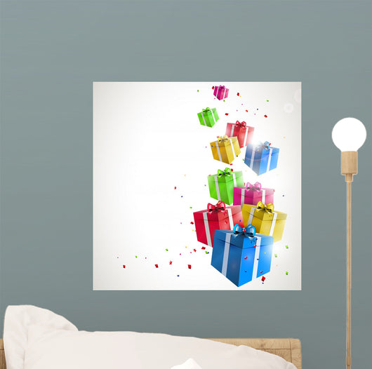 Modern birthday background with flying colorful gifts Wall Mural