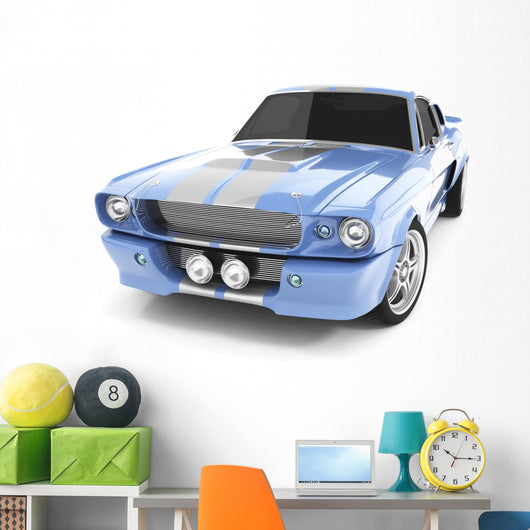 Light-Blue Classical Sports Car Wall Decal