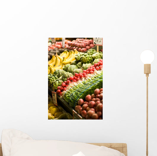Fruit and vegetable stand at the Pike Place Market in Seattle. Wall Mural
