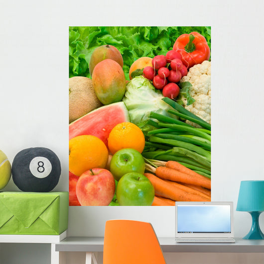 Vegetables and Fruits Arrangement Wall Mural
