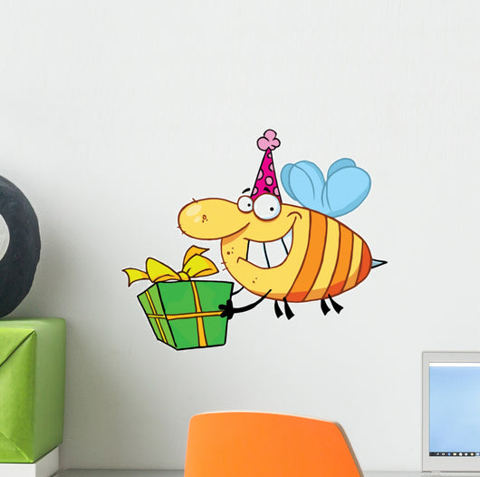 Happy Birthday Bee Wearing A Party Hat And Flying With Gift Wall Decal