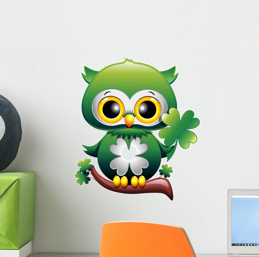 Baby Owl St Patrick Owl Cartoon Puppy with Quadrifoglio Wall Decal