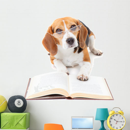 Dog Reading Book Wall Decal