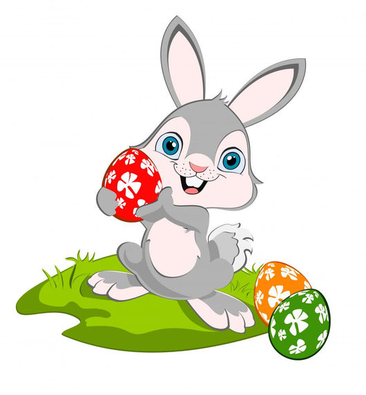 Cartoon Easter Bunny and Eggs Wall Decal - WallMonkeys.com