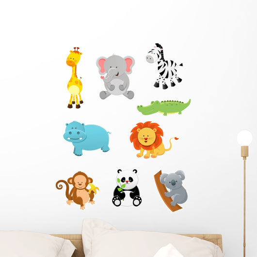 Baby Safari Animals Wall Decal Sticker Set