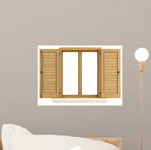Wooden Window with Open Wall Mural
