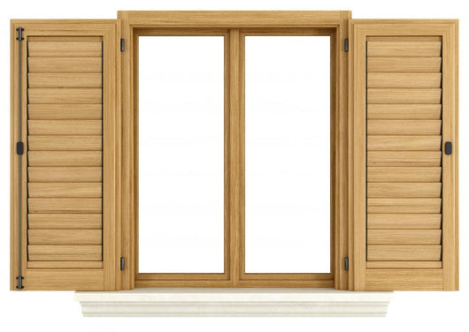 Wooden window with open shutter Wall Mural