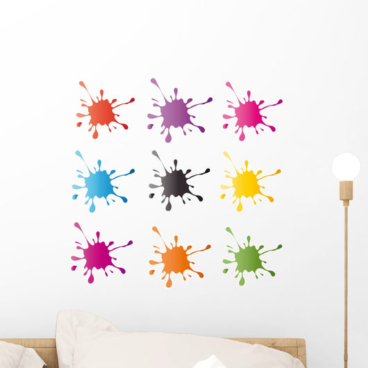 Colored Paintball Splashes Blots Wall Decal Sticker Set