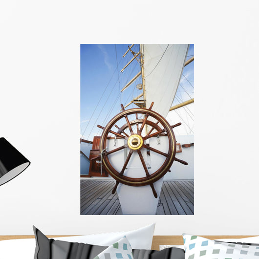 Ships helm on deck of a clipper ship, Italy Wall Mural