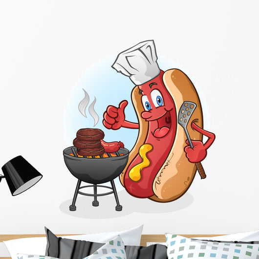 Grilling Hot Dog Wall Decal