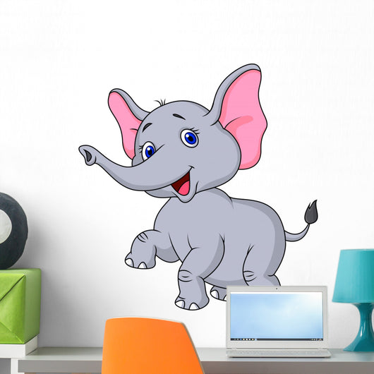 Elephant cartoon dancing Wall Decal