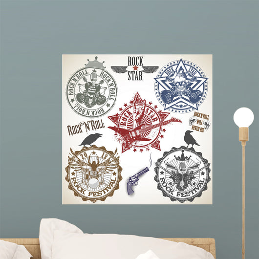 Set of stamps with symbols rock'n'roll Wall Decal