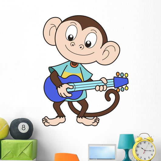 Cartoon Monkey Playing Guitar Wall Decal