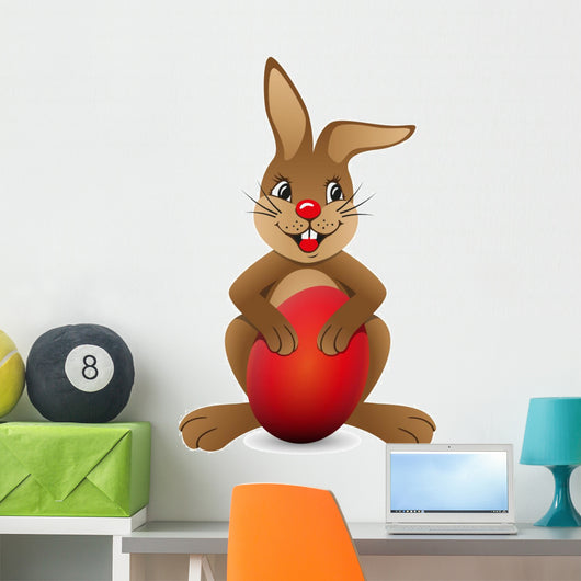 Brown bunny with red egg Wall Decal