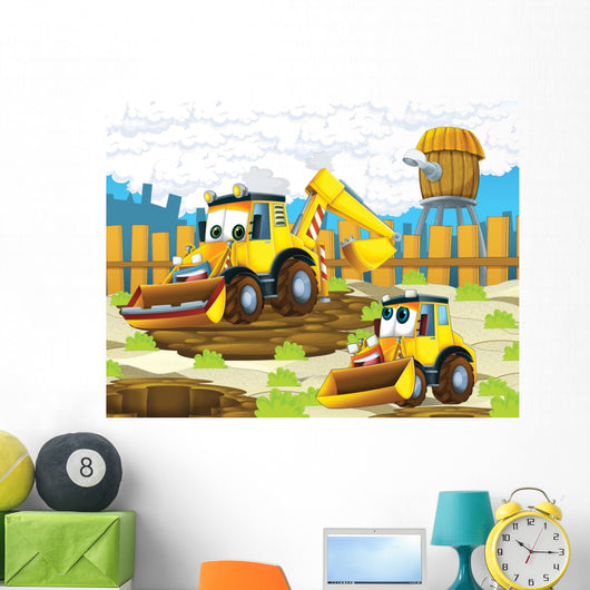 The cartoon digger - illustration for the children Wall Mural