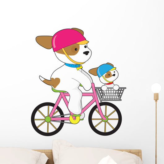Cute Puppy on Bike Wall Decal