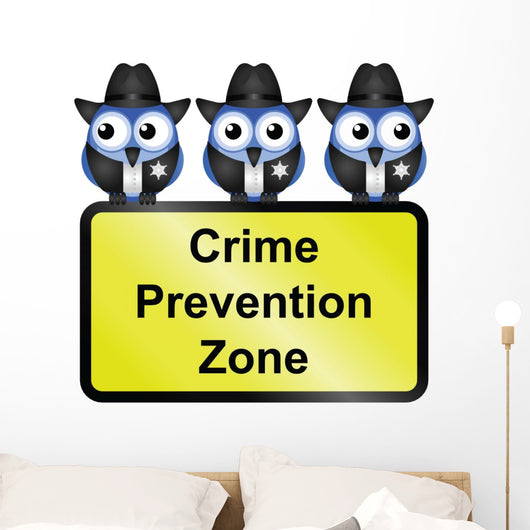Comical USA crime prevention zone sign Wall Decal