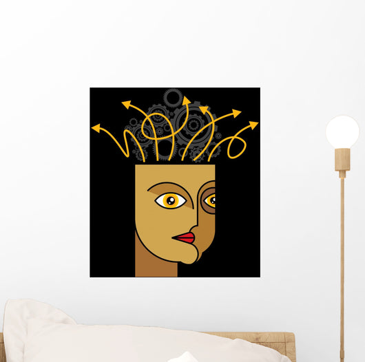 Thoughts and options - vector illustration of head with arrows Wall Mural