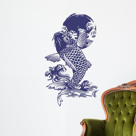 Blue Japanese Koi Wall Decal