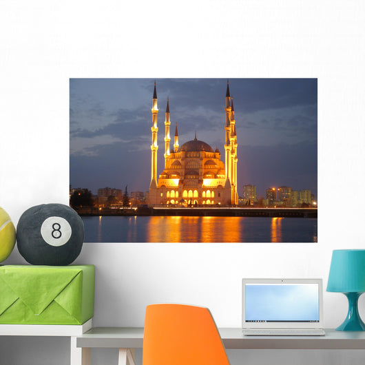 Night Mosque Reflection Wall Mural
