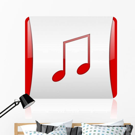 Music Red and White Wall Mural