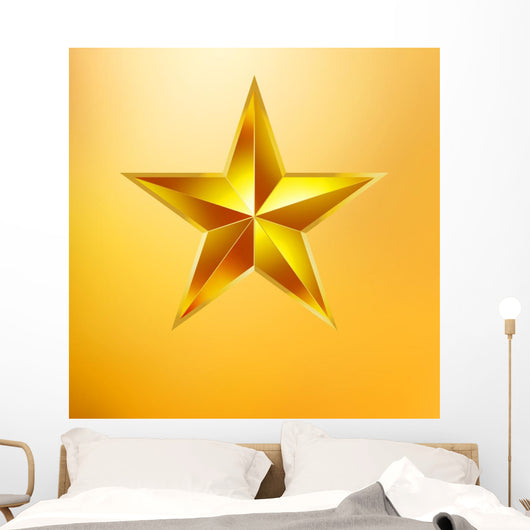 Illustration Gold Star Gold Wall Mural