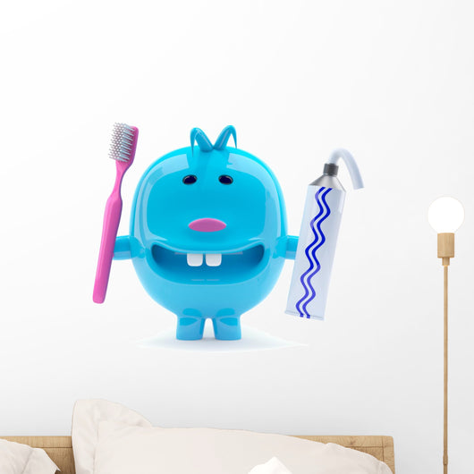 Little Blue Alien Toy Brushes His Teeth Twice a Day Wall Decal