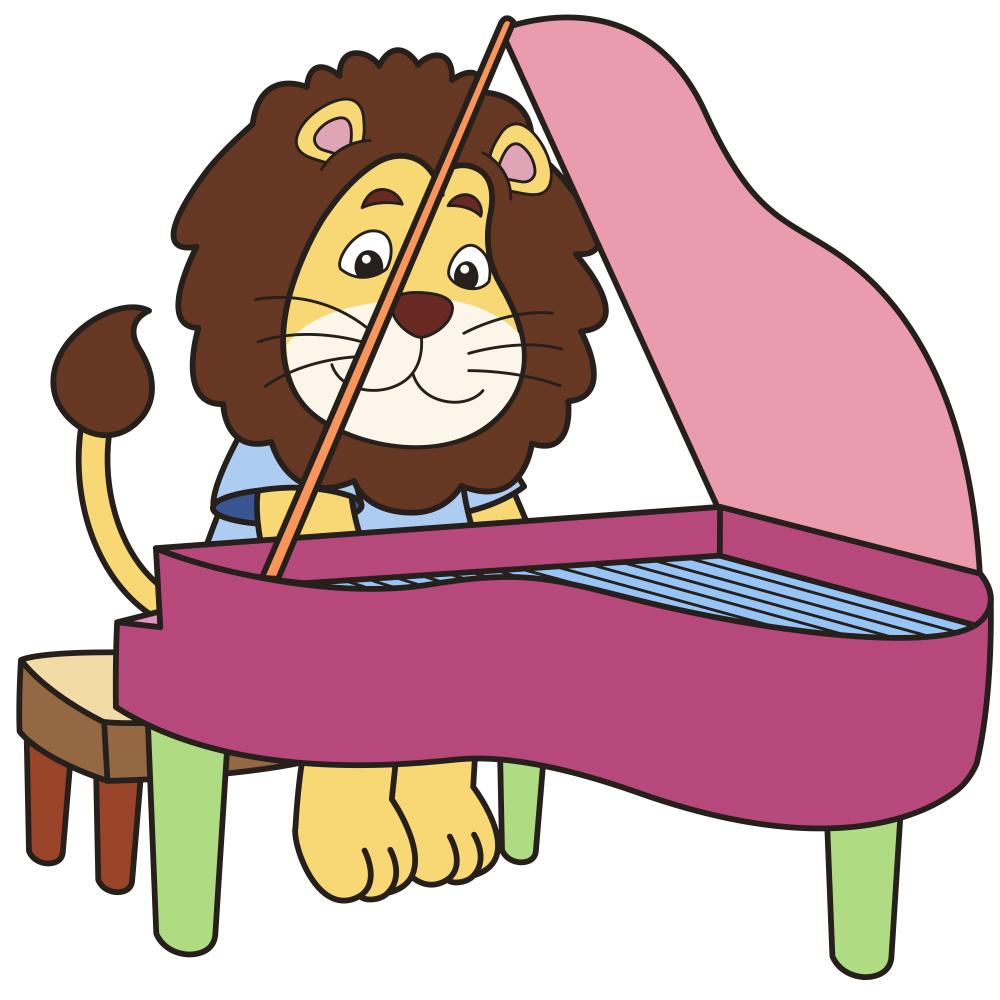 Cartoon Lion Playing Piano Wall Decal