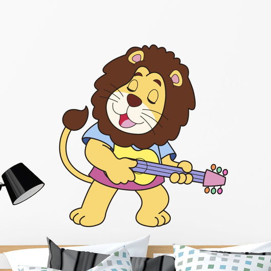 Cartoon Lion Playing a Guitar Wall Decal