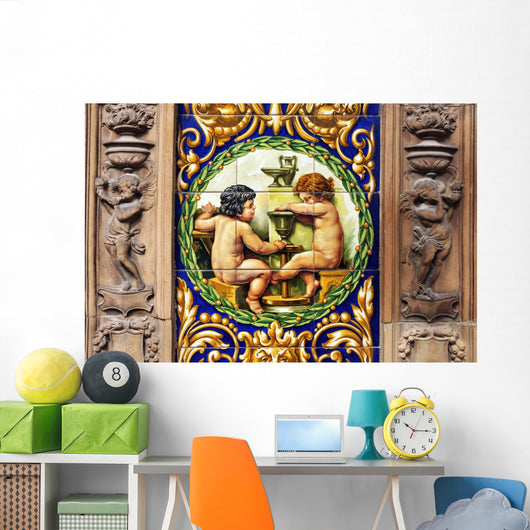 Potters Working Lathe Tiles Wall Mural