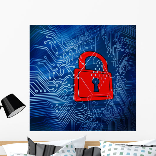 Digital Circuit Board with Wall Mural