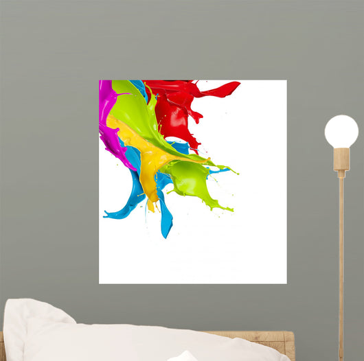 Colored splashes in abstract shape, isolated on white background Wall Decal